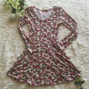 Long sleeve floral print skater fit and flare